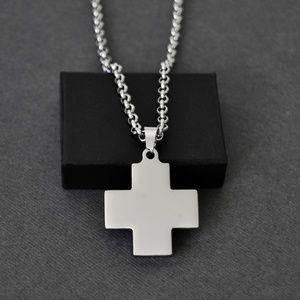 Men's Greek Cross Necklace in Stainless Steel